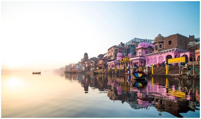 A bathing ghat in Varanasi, India.